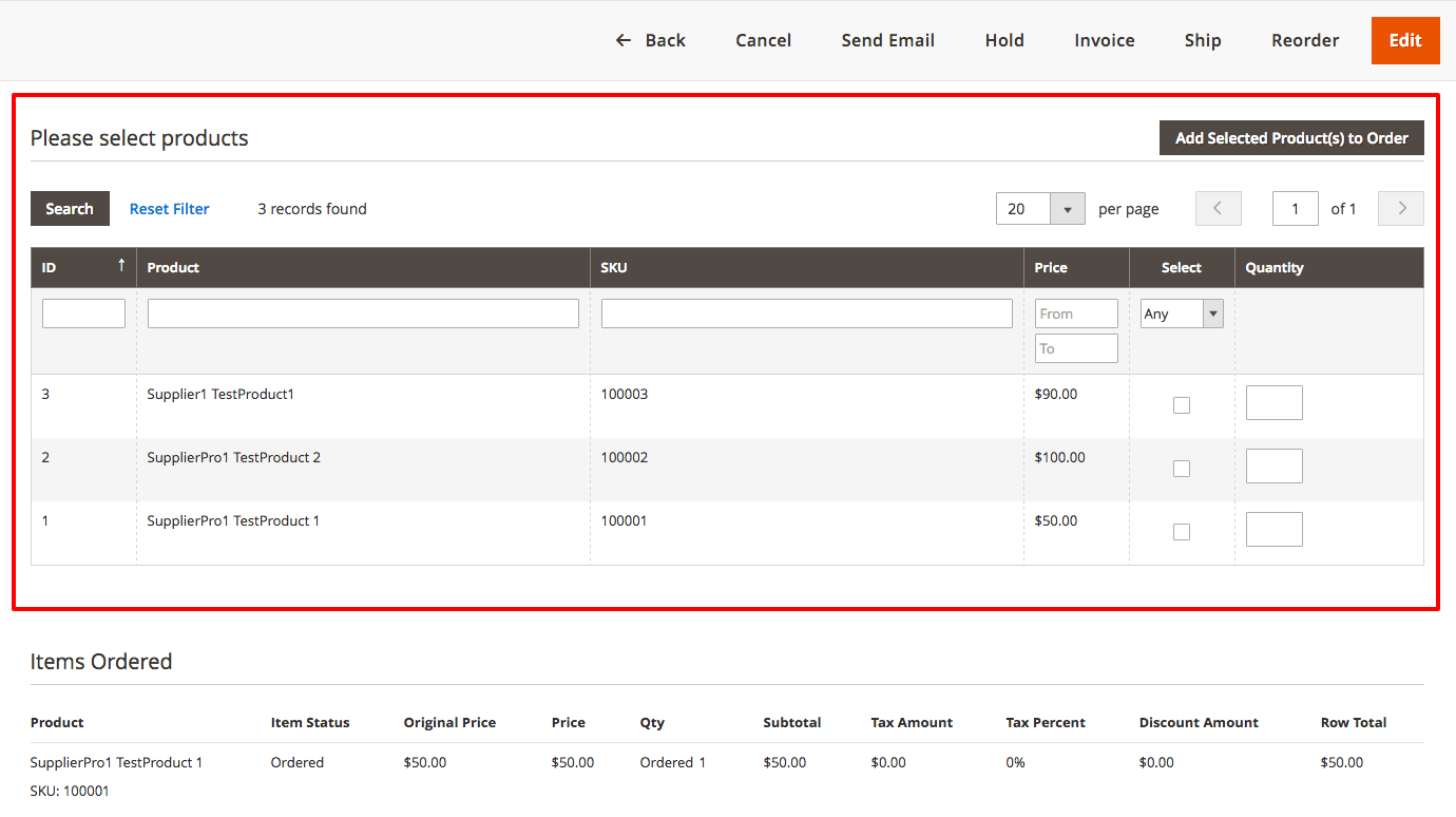 Editing products list in an existing order. The widget at the bottom allow admin to add new items