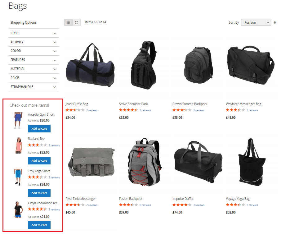 Showing the sidebar block with related products on the catalog page