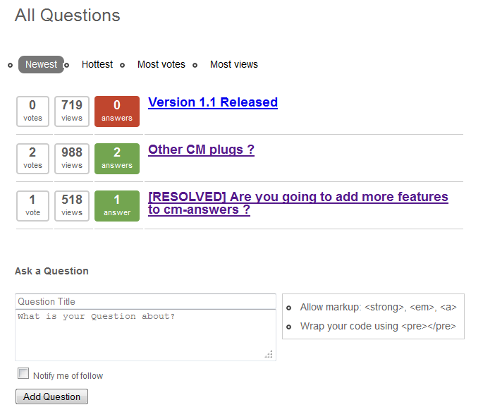 CM Answers Plugin User Guide