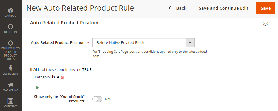 Specifying Auto Related Product Position in the Backend