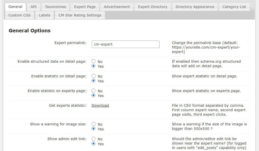 Member and Expert Directory Plugin - General Options