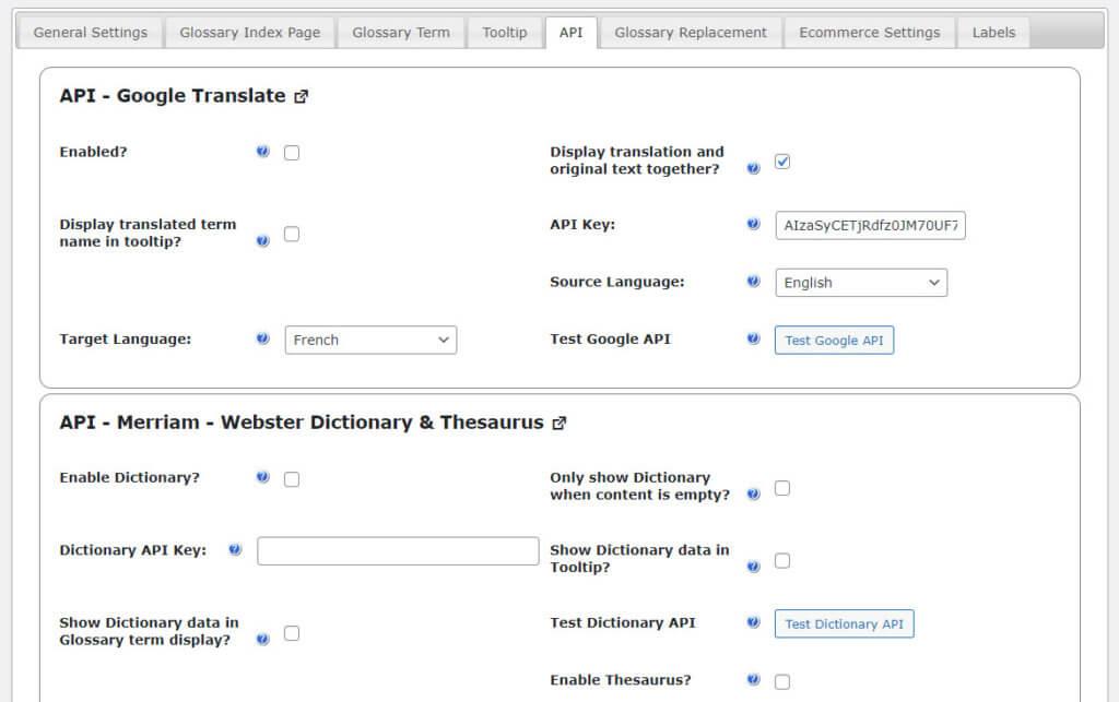 CM Glossary Tooltip - APIs