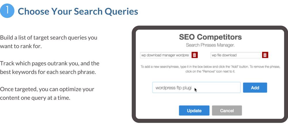 Choose your search queries feature banner - build a list of search queries you want to rank for
