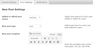 Form Settings-New Post Settings