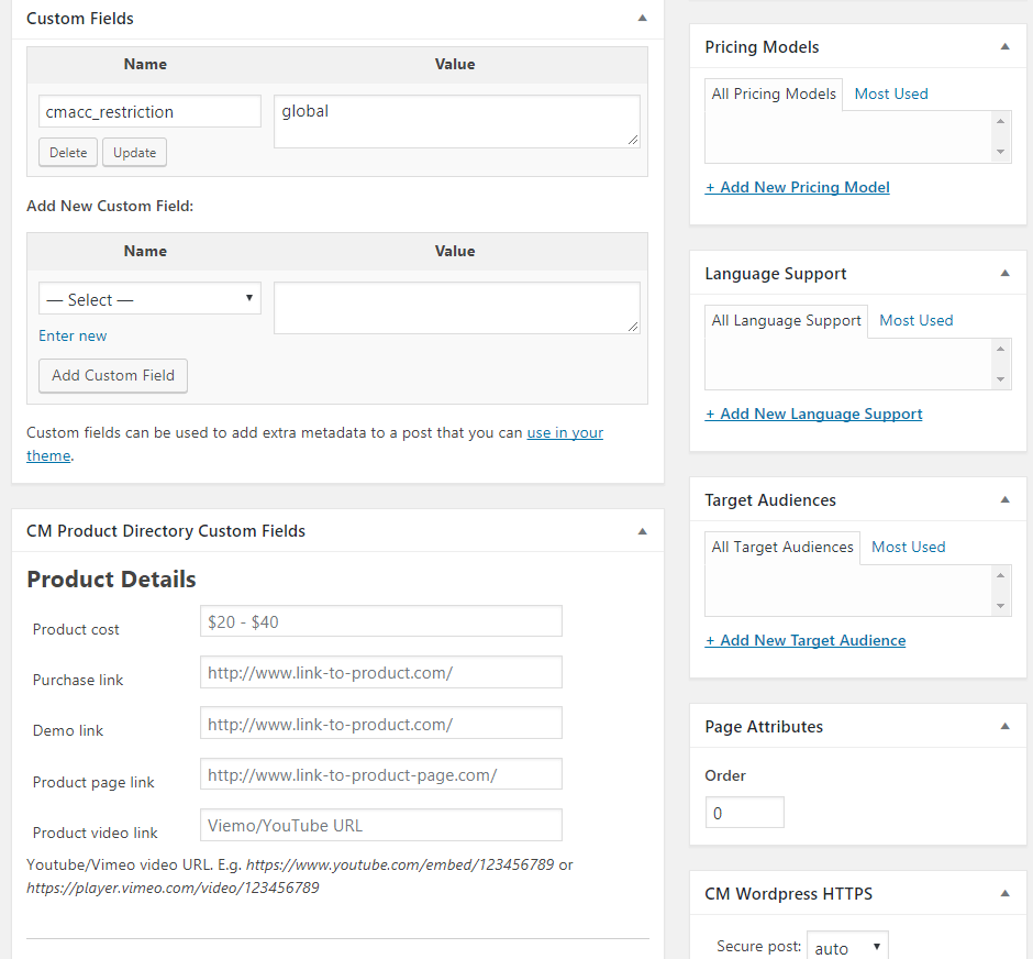 Add New Product-Custom fields,Product Details