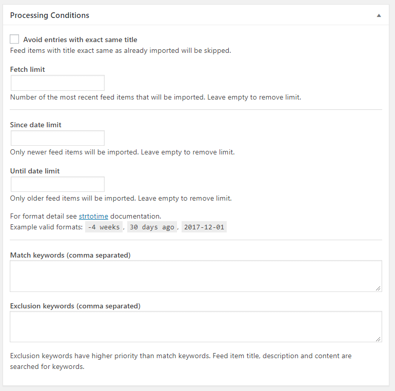 Add New RSS Feed-Processing Conditions - Display feeds