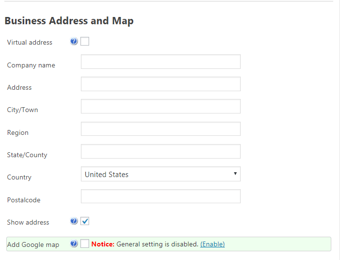 Add New Product-Business address & Map