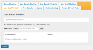 E-Mail Registration Blacklist-User Email Whitelist
