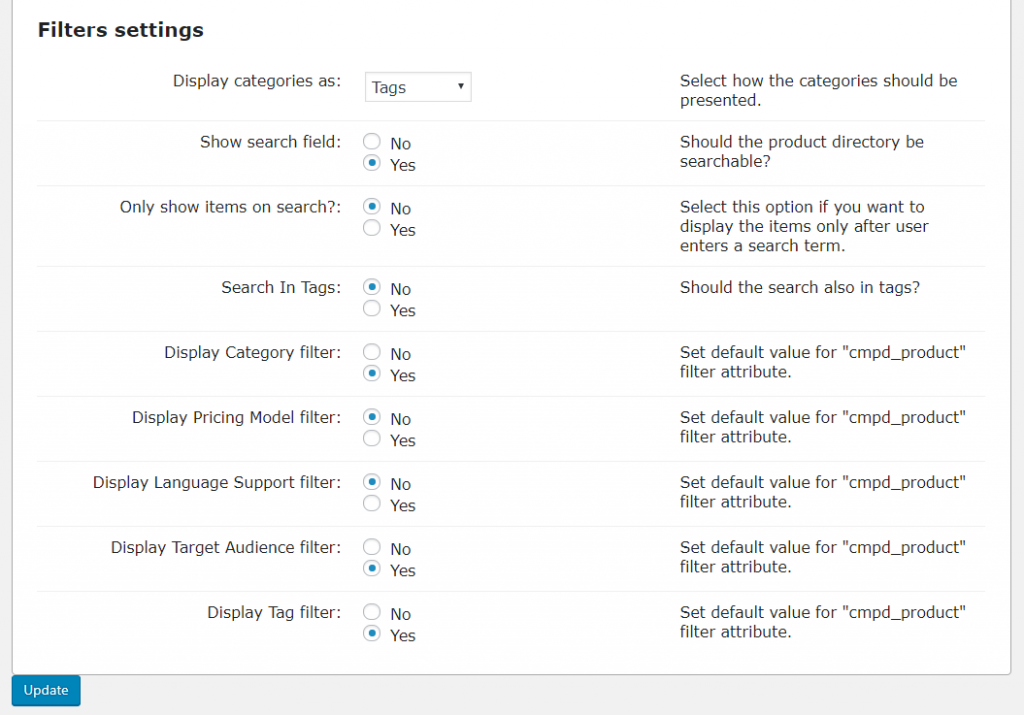 Product Directory-Filters Settings - filter search settings