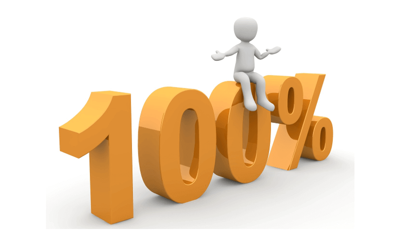 "Image of a 3D figure sitting atop characters spelling ""100%"" to represent GDPR compliance"