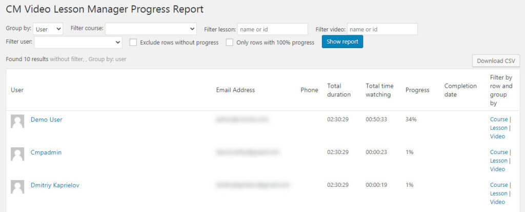 Video Lessons Manager - Progress Report