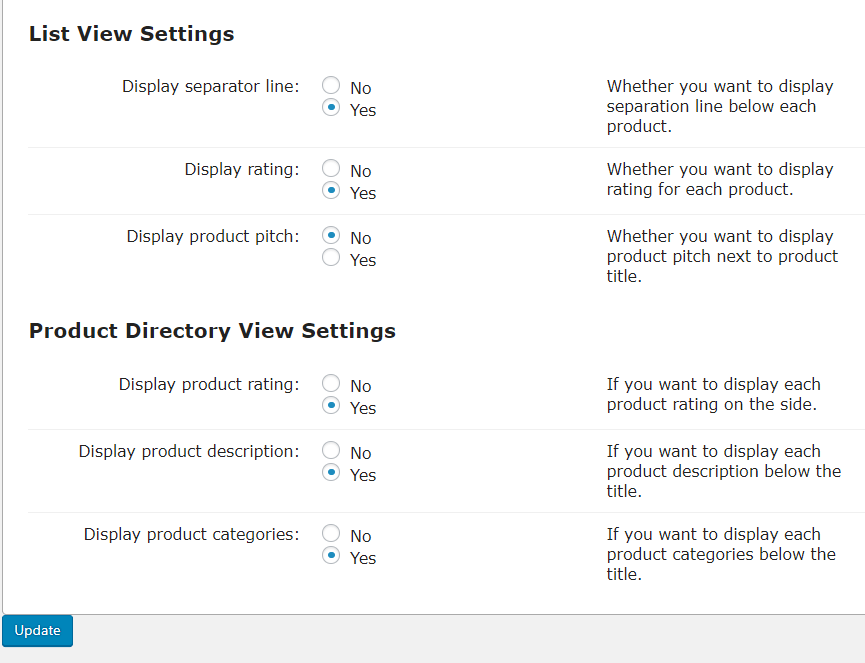 Directory Appreance-View Settings