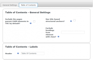 Table of Contents-General Settings, Labels