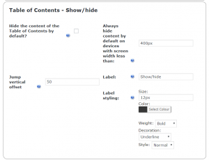 Table of Contents-Show,Hide
