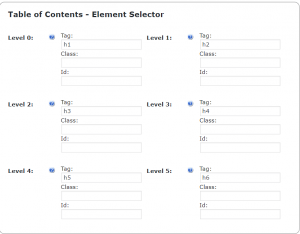 TOC WordPress Plugin-Element Selector