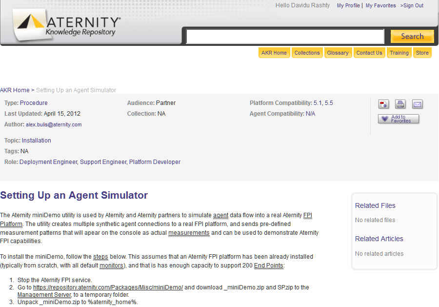 Examples of the Aternity knowledge repository homepage