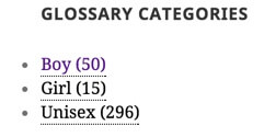 Glossary Categorie Widget