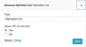 Alphabet Index Widget Controls