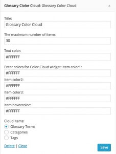 Glossary Dynamic Tag CLoud Widget Controls