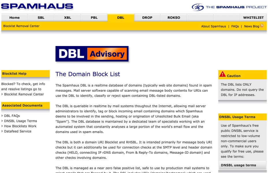 SpamHaus HomePage- list of block email spam domain - How to Restrict Site Registration and Block Email Spam Domains