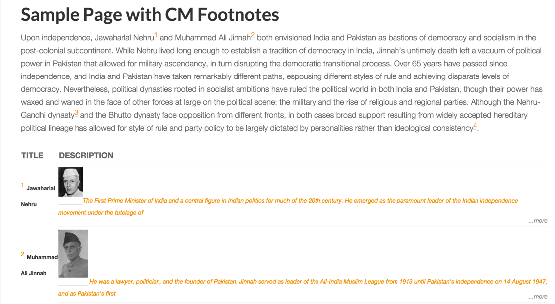 CM footnotes as displayed at the bottom of a page or post - New WordPress Plugins To Improve User Experience on E-learning Sites