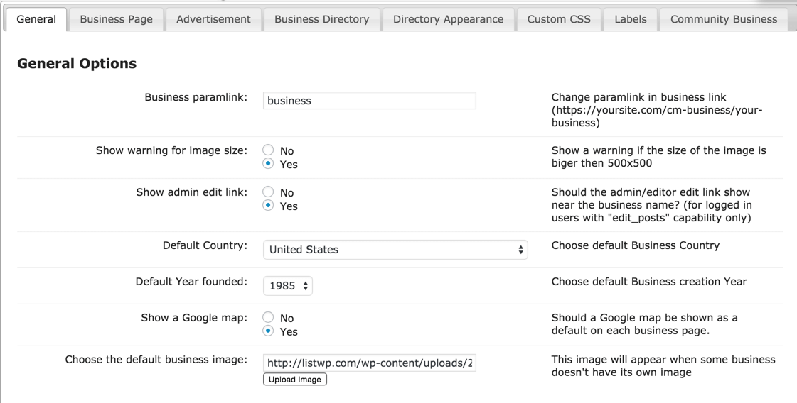 Defining the default settings of new business listings- CM business directory plugin for WordPress