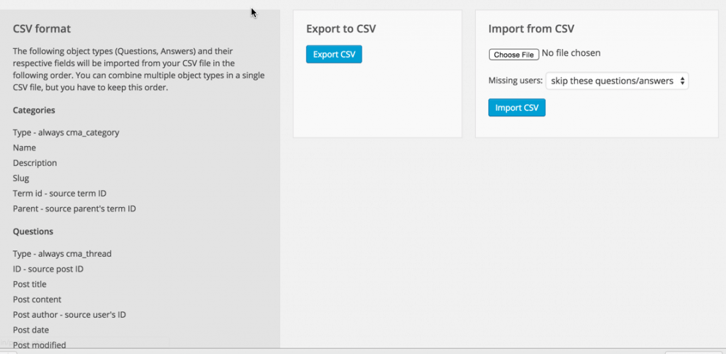 WordPress Forum Import and Export Dashbard