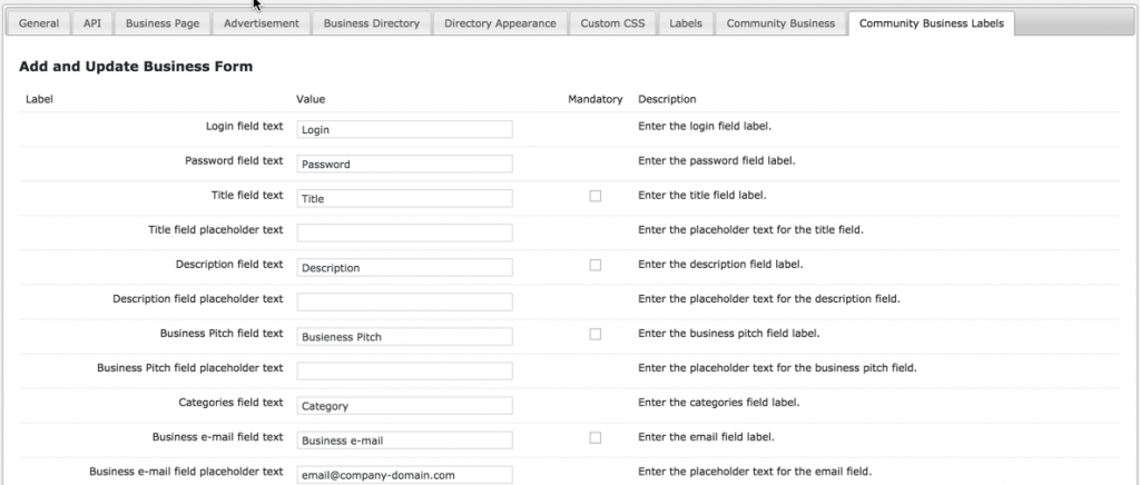 Business Directory Community AddOn - Labels Settings