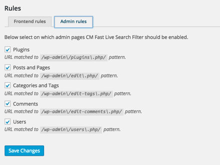 CM Fast Live Search Filter - Plugin Settings Predefined Admin Filters