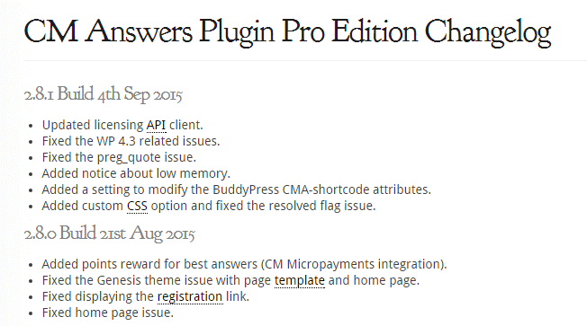 Changelog for CM Answers pro plugin