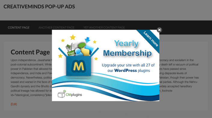 Popup created with CM popup plugin - 14 New Plugins to Make your WordPress Site Look Great