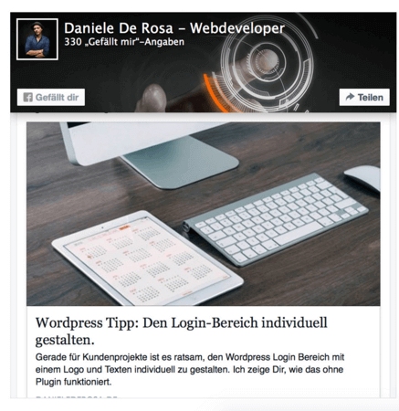 An example of what the Facebook page box looks like with a post - 14 New Plugins to Make your WordPress Site Look Great