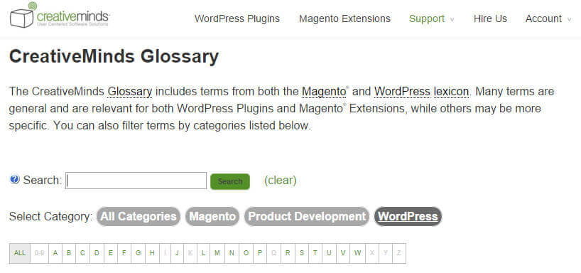 CreativeMinds Glossary Build Glossary WordPress - How to Build a Glossary in WordPress