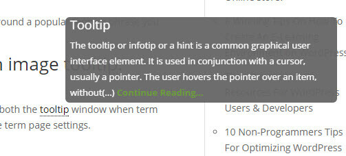 Tooltip in CM Tooltip Glossary