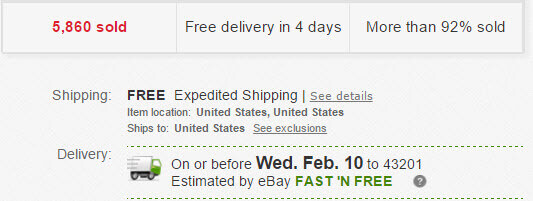 Ebay vendor offering free shipping