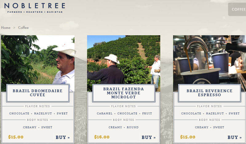 Online coffee store Nobletree built using Woocommerce