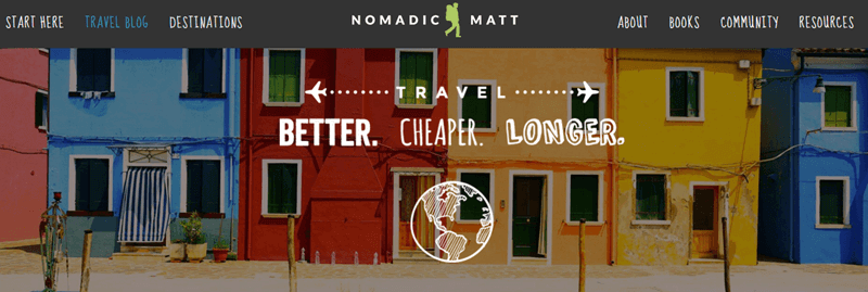 Popular travel blog Nomadic Matt - Creating an Awesome Travel Blog Using WordPress