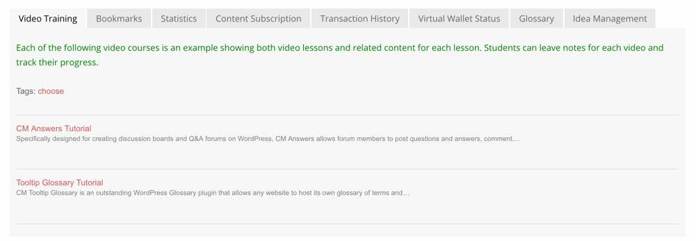 List of Available Courses - Video Lessons Manager