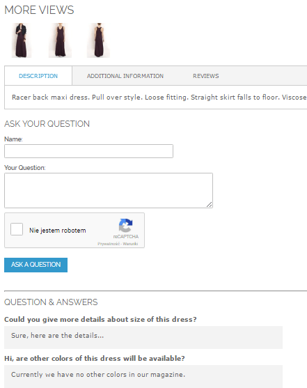 Bottom of the product page with the question form and previously answered questions