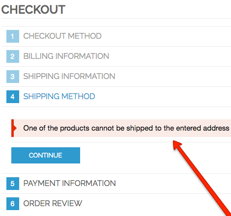 Showing checkout with the shipping restrictions message