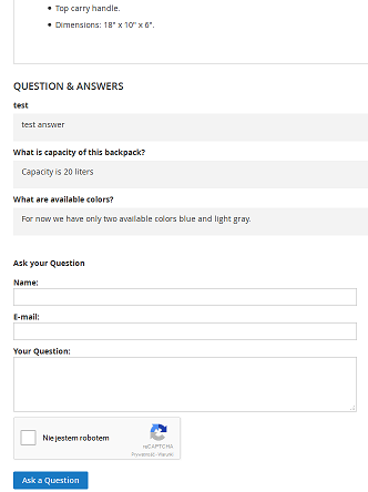 Showing the bottom of the product page with question form and already answered questions