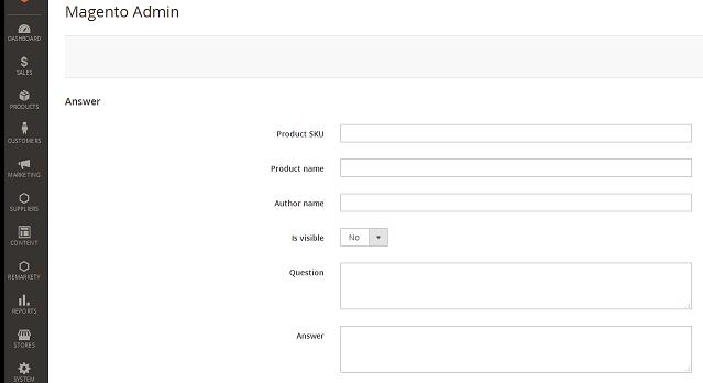 Showing admin edit question form