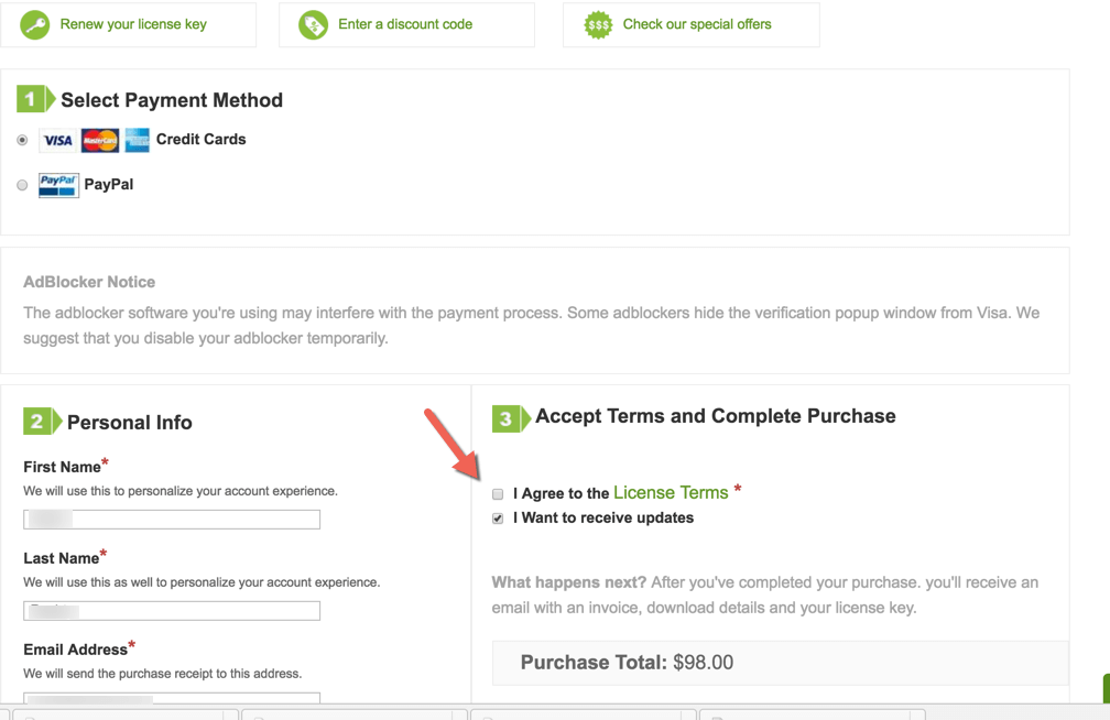 Opt-in checkbox at cart