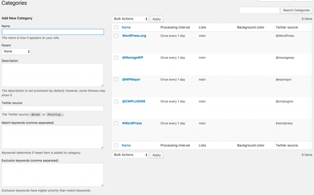 Aggregated twitter feeds categories managment