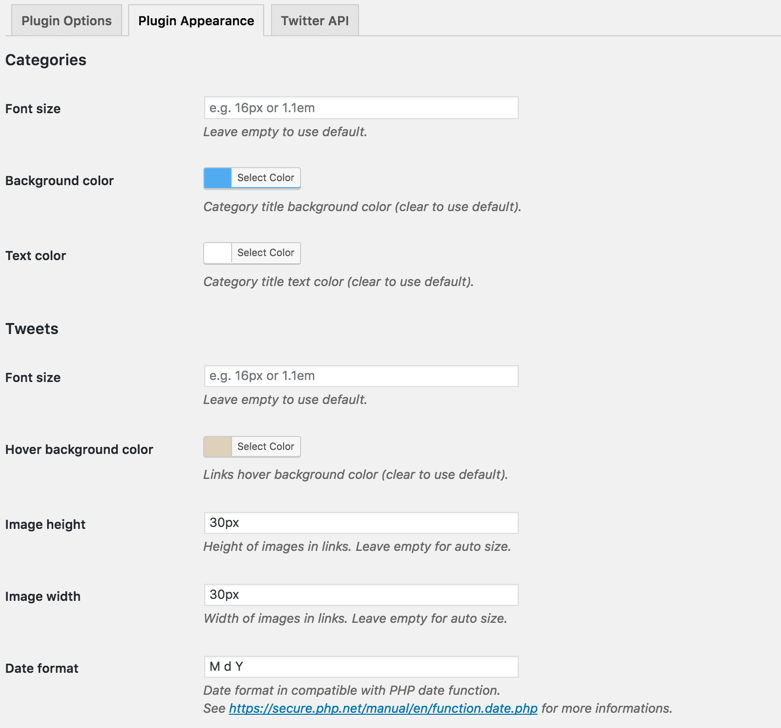 Aggregated twitter feeds - apperance settings