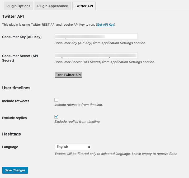 Aggregated twitter feeds - API settings