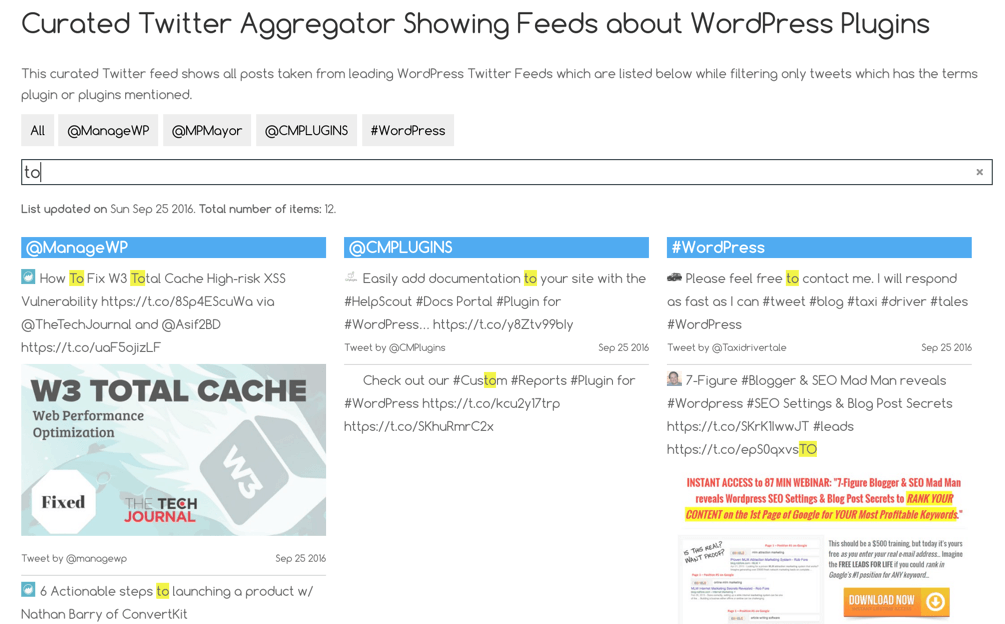 Aggregated twitter feeds - List view with filter