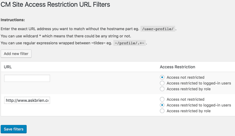 Dashboard Controlling URL Access Rules