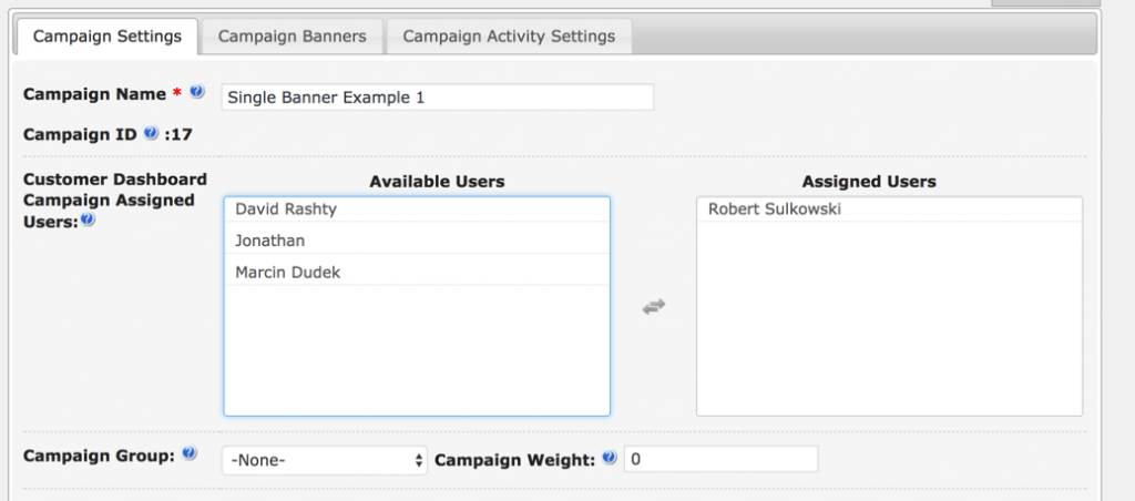 Customer Dashboard - Assign Campaign to one or more customers
