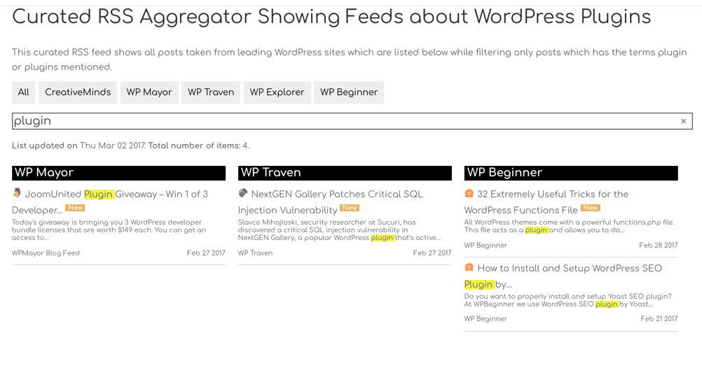 Rss Aggregator - filter by keywords